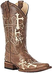 Corral Womens Cross Embroidery Square Toe Western Boots