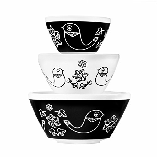 World Kitchen (3pc) Set Retro White Glass Mixing or Serving Bowls Polka Dots or Birds Vintage Pyrex Pattern -