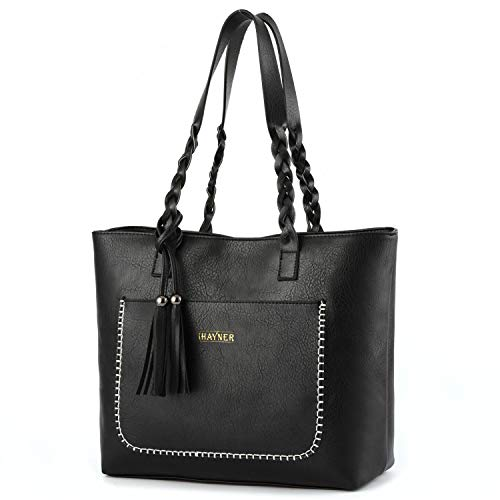 Women Tote Bags Retro Shoulder Bag Purse Satchel Hobo Purse Zippred Waterproof Travel Handbags with Tassel (black)