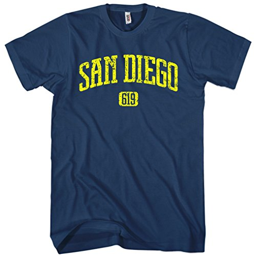 Smash Vintage Men's San Diego 619 T-shirt - Navy, (Printed T-shirts San Diego Chargers)