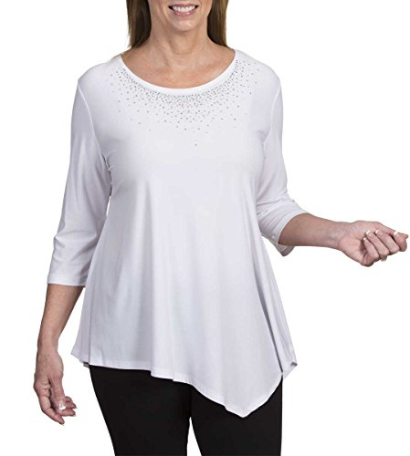 Amy Alder Rhinestone-Embellished Asymmetrical Scoop-Neck Tunic Top, White, (Embellished Scoop Neck Top)