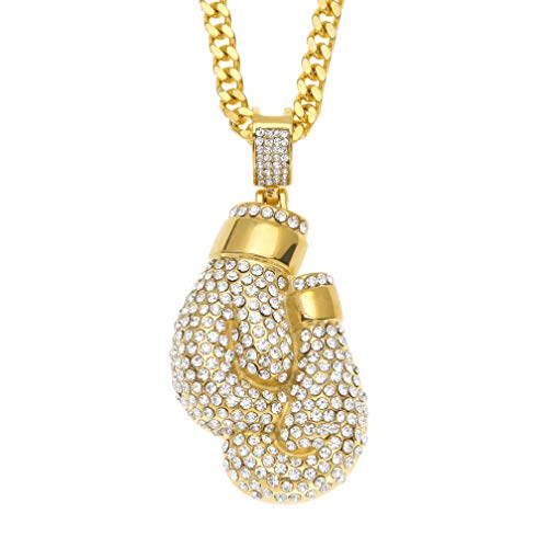 (Hip Hop Fitness Plated 18K Gold Stainless Steel Boxing Gloves Pendant Crystal Necklace(Gold))