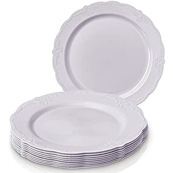 Party Disposable 20 pc Dinnerware Set | 20 Dinner Plates | Heavyweight Plastic Dishes | Elegant  sc 1 st  Amazon.com & Amazon.com: Vintage Disposable Plates - Ivory - Set of 10 (Ivory ...