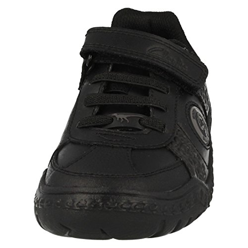 Clarks Stomp Rex Infant Boys School Shoe in Black Leather Schwarz