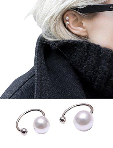 Pink Universe U-Shaped Gray Pearl Ear Clip No Piercing Earrings 2 in 1 Pair (White) ()