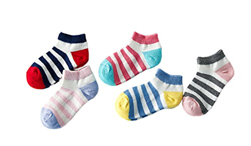 Bevogue Kids Girls Variety Stripe Mixed colors Crew Cotton Socks 5 Pairs Pack Low Cut Breathable Mesh Socks