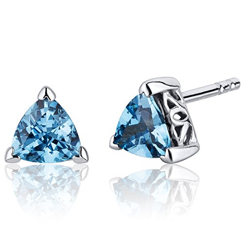 Swiss Blue Topaz Trillion Stud Earrings Sterling Silver 1.50 ()