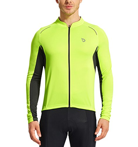 Baleaf Men's Full Zip Long Sleeve Bicycle Cycling Jersey Fluorescent Yellow Size XXL