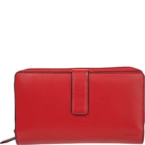 Deluxe Womans Wallet - Lodis Audrey Deluxe RFID Checkbook Clutch (New Red)