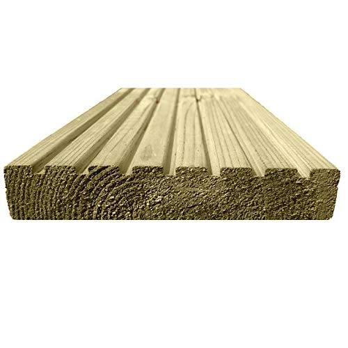 15 Ruby 123mm x 33mm Treated Wooden Decking Boards 2.4M (15)