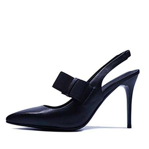 7f4a9a0f8a7 Nine Seven Cuero Moda Puntiagudos Tacones de Aguja con Lazo de Vestir para  Mujer negro