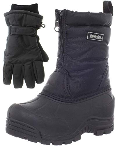 Northside Icicle Winter Snow Boots for Boys/Girls with Matching Waterproof Gloves, Size: 4 M US Big Kid - Black (Black)