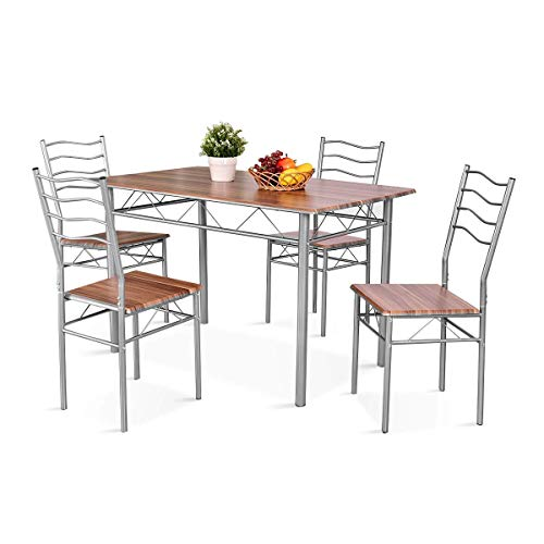 Walnut Dining Table Chairs - Giantex Modern 5 Piece Dining Table Set with 4 Chairs Metal Frame Wood Like Kitchen Furniture Rectangular Table & Chair Sets for Dining Room (Shallow Walnut)