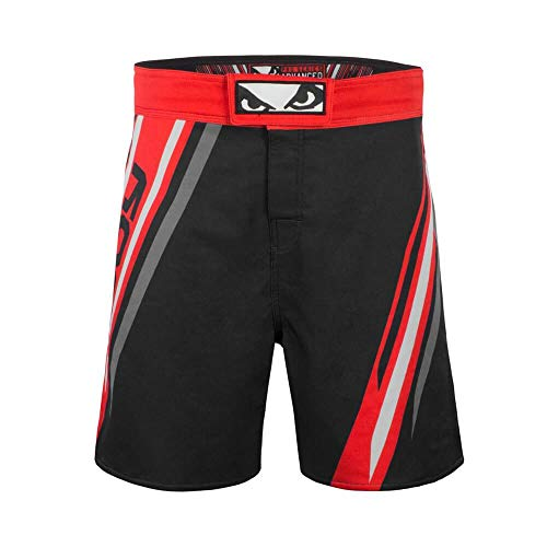 (Bad Boy Pro Series Training Fight Shorts Bamboo Fabric Competition MMA Mixed Martial Arts Fitness Workout Black/Red - Small)