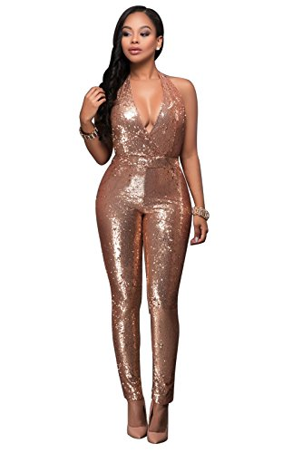 Women's Sexy Halter Cocktail Club Bodycon One Piece Sequin Jumpsuit Romper Champagne M