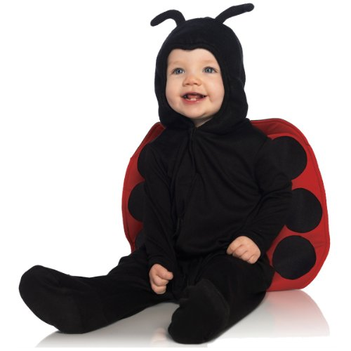 Anne Geddes Ladybug Costumes (Leg Avenue Anne Geddes Baby Ladybug Ultra Soft Hooded Pajama with Stuffed Body Antennae, Black/Red, 12M-18M)