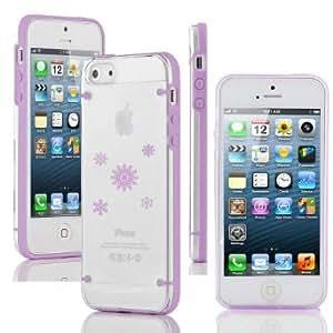 Apple iPhone 6 Plus / 6s Plus Ultra Thin Transparent Clear Hard TPU Case Cover Frozen Snowflakes (Purple)