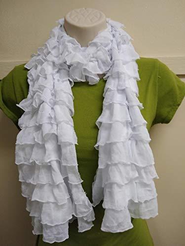 - White Ruffle scarf, Woman, Girl, Teens, Gathered, Fabric Ruffled Cascades.