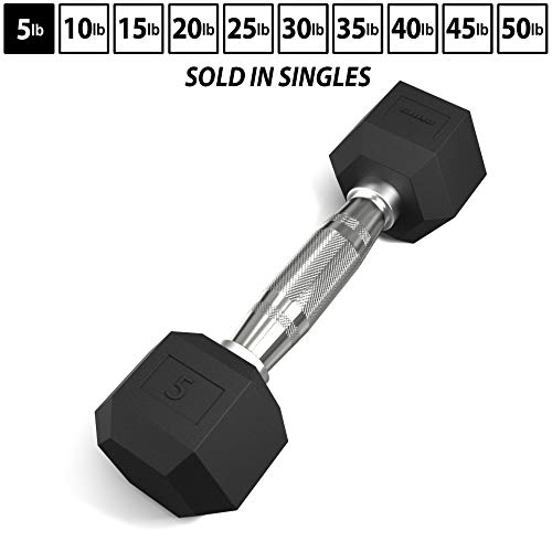 Synergee Rubber Encased Hex Dumbbells with Chrome Handle. Sold Individually All Purpose Weights for Strength…