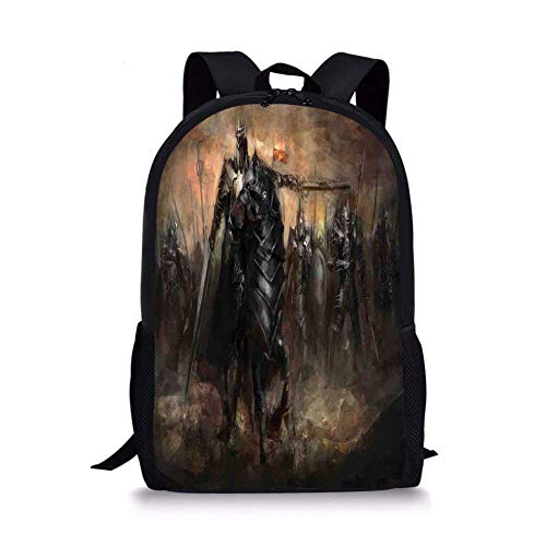 - School Bags Fantasy World,King with Armor Leading His Army War Evil and Good Ancient City Illustration,Black Brown for Boys&Girls Mens Sport Daypack