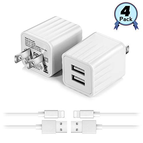 USB Wall Charger with 3 ft iOS Charging Cable,2.1A Dual Port Phone Fast Charger Adapter Plug Cube Compatible with iPhone Xs Max/XS/XR/X/8/8 Plus/7/7 Plus/6 and More- 2 - Usb Charger Set