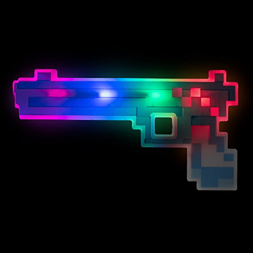 Windy City Novelties LED Light Up Pixel Toy Gun for Boys and Girls - Blue/Red - 8 Bit Pistol for $<!--$8.99-->
