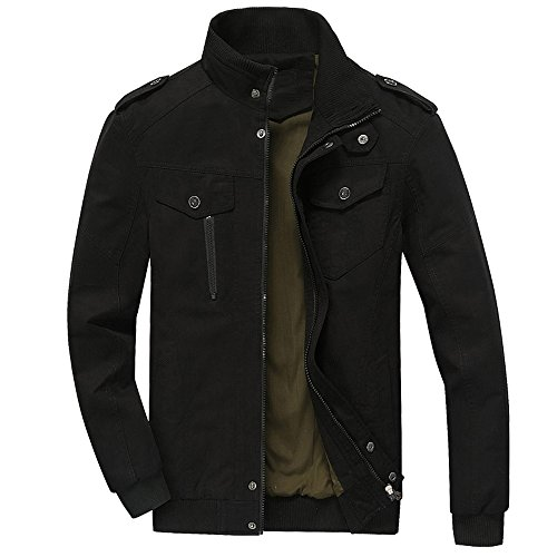 Uniform Naval (RongYue Men's Cotton Stand Collar Lightweight Military Windbreaker Jacket(RY2701-Black-L))
