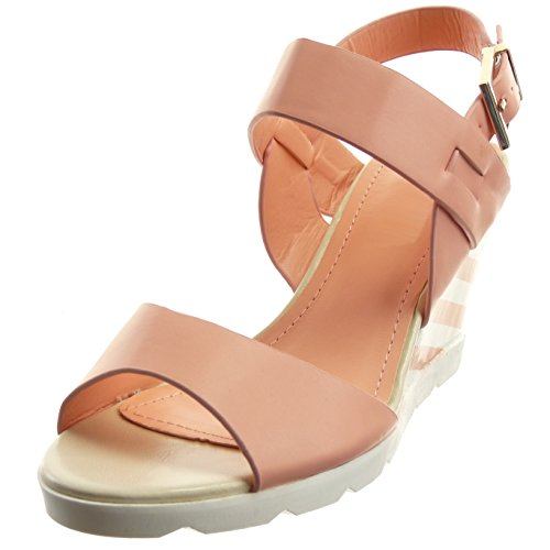 Sopily - damen Mode Schuhe Sandalen Offen Plateauschuhe Schleife Linien - Rosa