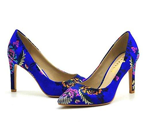 Pompes Soirée xie aiguille pointu Broderie Talon femmes Noir Bout Ancien Chaussures pour wFFqxav7