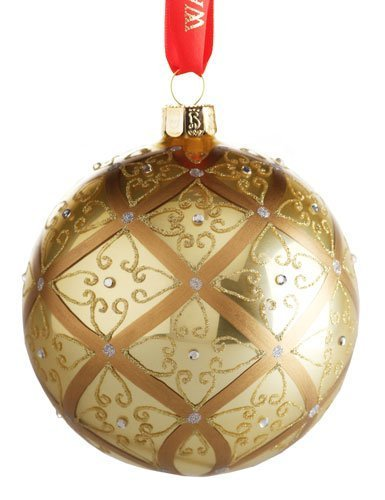 (Waterford Holiday Heirlooms Gold Ball Christmas Ornament #153830 ~ Large Celtic Scroll)
