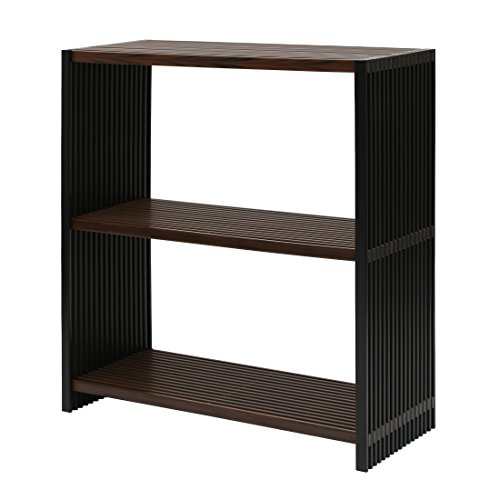 Seville Classics 3-Tier Two-Tone Folding Wide Rectangle Bookcase Shelf, Ebony & Walnut