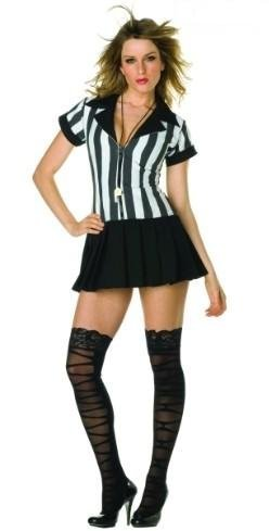 Women's Umpire Costume (Rowdy Referee Vertical Stripped Top With Button Closure (White/Black;Large))