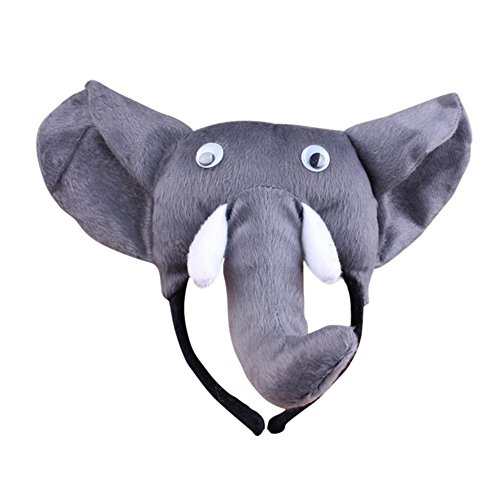 [Remeehi 3pcs Party pretend Halloween Party Cosplay Performance Children Animal Costume Hat for Kids Headwear Elephant] (Elephant Ears Costume Pattern)