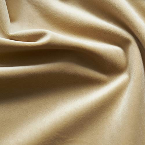 - Solid Drapery/Upholstery Soft Velvet Fabric Color Biscuit by The Yard