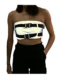 Pink Elephant Womens Grey Reflective Tube Top Bra Straps Hiphop Dance Clubbing