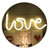 Neon Love Signs Light 13.70'' Large LED Love Art Dorm Decor Sign-Wall Decor-Table Decor for Girls Room Wedding party Kids Room Living Room House Bar Pub Hotel Beach Recreational (warm white)