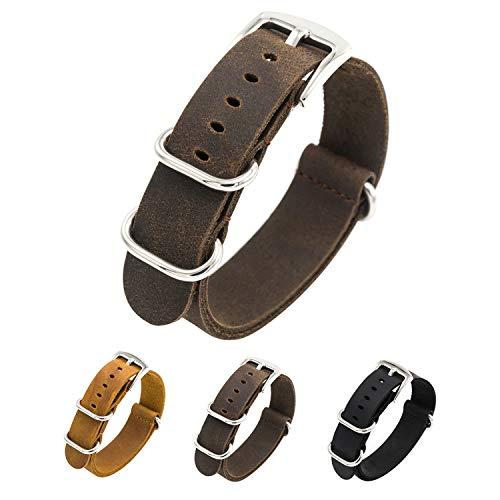 CIVO Watch Band Genuine Crazy Horse Leather Watch Bands NATO Zulu Military Swiss G10 Style Watch Strap 20mm 22mm (Dark Brown, 18mm)