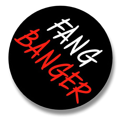 "Fang Banger Costume (Custom & Novelty {1.5"" Inch} 1 Single Piece, Mid-Size Button Pin-Back Badges for Unique Clothing Accents, Made of Rust-Proof Metal w/"