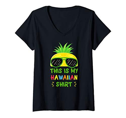Womens This Is My Hawaiian Shirt Aloha Hawaii Summer Pineapple V-Neck - Shirt Hawaiian Chocolate Aloha