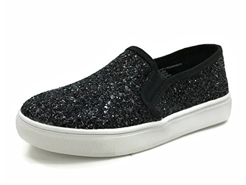 Soda Womens Slip On Sneakers - Closed Toe Black Glitter