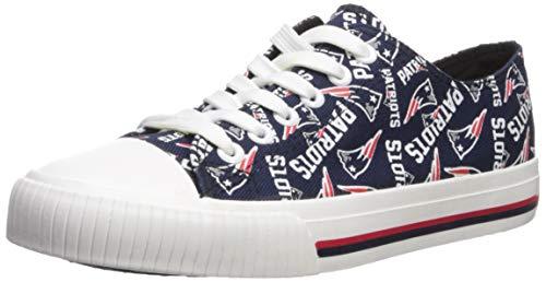 FOCO NFL Womens Low Top Repeat Print Canvas Shoe: New England Patriots, Medium ()