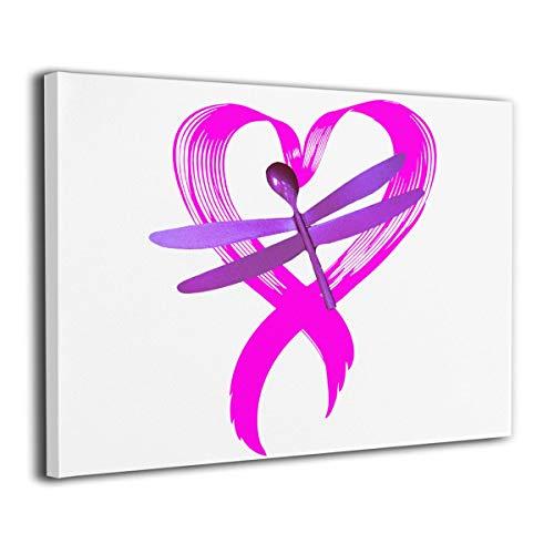 Roderickar Paintings Wall Art Breast Cancer Ribbon Dragonfly Modern Decorations for Living Room Bedroom Bathroom Home Decor for Living - Wall Dragonfly Ribbon