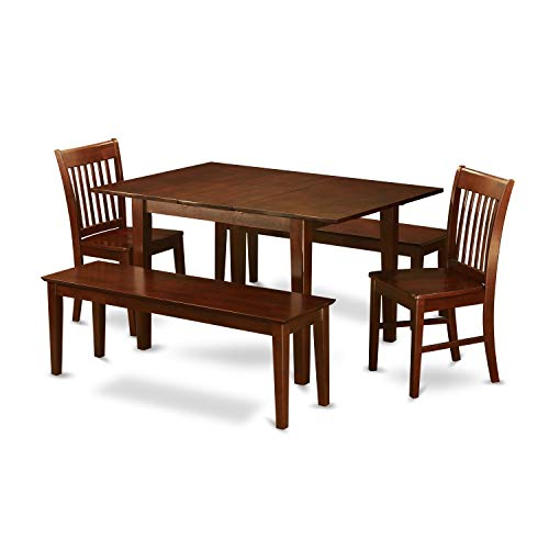 (5-piece Small Mahogany Table with 2 Chairs and 2 Dining Benches Dining Bench Wood Rustic Accent Seat Kitchen Modern Amish Made Usa Room Svitlife)