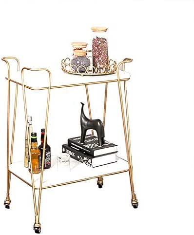 ZJⓇ Rack Shelf Trolley, Wrought Iron Nordic Wine Racks Beautiful and Generous Restaurant Hotel Beauty Salon cart, White, 2 Sizes Stroller Rack (Size : 80X40X75CM)