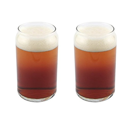 Libbey Can Shaped Beer Glass - 16 oz - 2 PACK w/ Pourer ()