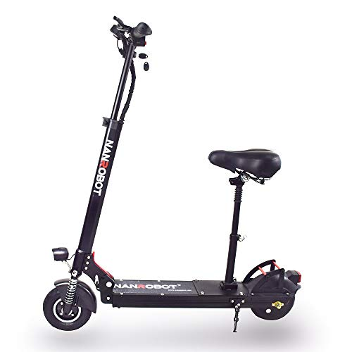 NANROBOT X4 Foldable Lightweight 8' 500W Electric Scooter with Top Speed of 25 MPH and Raveling up to 25 Miles Range (X4 2.0 - Scooter + Seat)