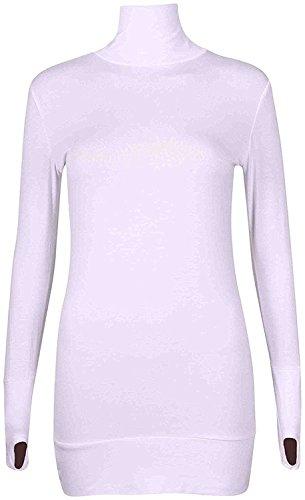 Thumb Fashion Bodycon Hole Polo 66 Neck Turtle District Dress Top Ladies Short Long Womens Stretch Sleeve Cream 14 8 Neck CxndqOd