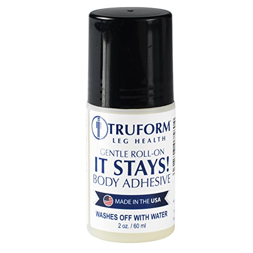 Truform Roll-on Body Adhesive, Prevents Stocking Rolling or Falling Down, 2 fl. Ounce, Made in USA