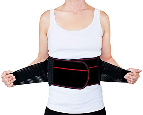 Back Brace Lumbar Support Belt-Lower Back Waist with Dual Adjustable Straps and Breathable Mesh for Men and Women,7 Stable Splints (Plus Size XL XXL)
