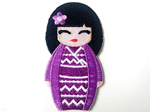 Tyga_Thai Brand Purple Color Japanese Kokeshi Doll Japan Vintage Cute Girl Jacket T-Shirt Sew Iron on Embroidered Applique Badge Sign Patch (Iron-Doll-Japan-Girl) ()